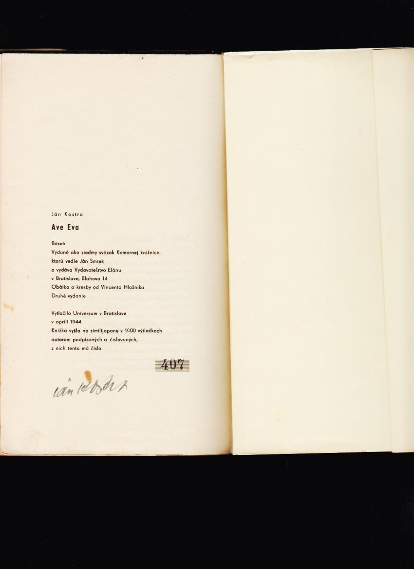 a1c399f7f Poézia | Ján Kostra: Ave Eva /podpis autora/ | Antikvariát Stepný ...